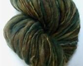 "Super Bulky Thick & Thin Yarn 82 Yards Handspun Alpaca / Merino Golden Brown and Dark Green  Doll Hair "" September Foliage  """