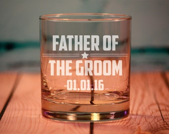 Fathers Thank You Gift, Engraved Rocks Glasses, Father of the Bride and Father of the Groom Old Fashioned Glasses,  Personalized Gifts