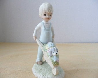 Lefton China The Christopher Collection Boy with Wheelbarrow Figurine