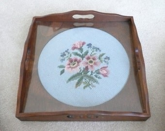 Dark Wood Serving Tray with Glass Protected Floral Needlepoint Insert