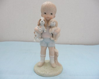 Lefton China The Christopher Collection Little Boy with Puppies Figurine, TWL-03843