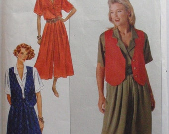 Fast and Easy Sewing Pattern - Misses Button Front Shirt, Culottes and Lined Vest - Butterick 4894 - Sizes 18-20-22, Bust 40 - 44