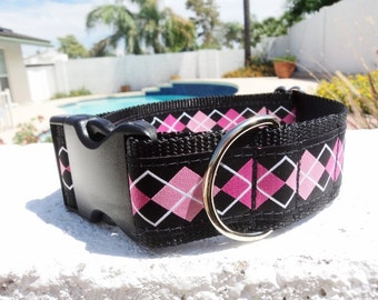 "Sale Large Dog Collar 1.5"" wide side release buckle adjustable Pink Argyle - limited ribbon no martingales"