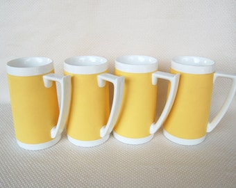 Set of 4 Vintage West Bend Harvest Gold Insulated 16 ounce Mugs Insulated Ware Tall Mugs Beer Steins
