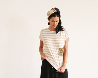 Clearance SALE/Striped T-shirt, leopard print pocket t-shirt hipster indie swag dope hype Women top, Summer shirt