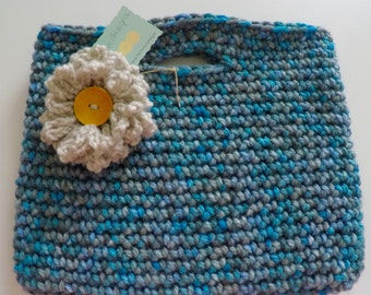 Crochet Handbag Tablet Holder Tote with Flower