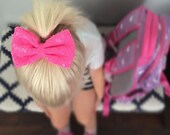 Sequin Hair Bow, Pink Bow, Pink Sequin Bow, Sparkle Clip