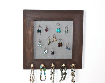 Wall Hanging Jewelry Holder, Organizer for Earrings, Necklaces, Bracelets. Wall Mount Jewelry Display