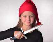 Smee Hat Child Size Pirate Hat Red Stocking Cap Red Pompom 19 or 20 inch Headband Small