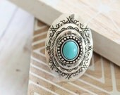 Tibetan silver OVAL Statement stretch adjustable ring Blue acrylic center Bohemian cocktail ring Gypsy Boho chic ring handcrafted by Inali