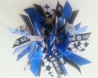 Soccer Ribbon Ponytail Holder / Streamer in Royal Blue, Black, and White