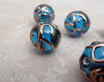 Czech Round Lampwork Bead - 12mm - Venetian Wedding Cake Style (1) Capri Aqua Blue Copper Accents - Bohemian Glass - Central Coast Charms