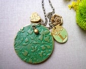 Teacher's Gift, Green, Necklace and earrings set, letter stamped jewelry, artisanal clay cabochon, gift for grandmother, Green and Gold,