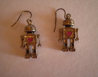 vintage ROBOT with a HEART earrings