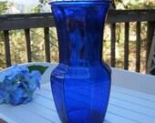 Large Cobalt Blue Vase - Wedding Decor - Centerpiece - Oak Hill Vintage