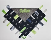 Nautical Themed PERSONALIZED Ribbon Tag Blanket - Navy Blue, Lime, Gray, Anchors and Pacifier Clip, Large 16 x 16