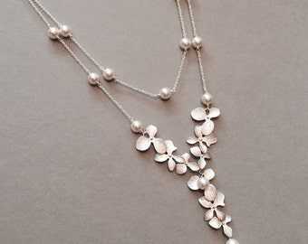 Layered Bridal Orchid and Pearl Cascade Necklace in Silver-  two-in-one, available in gold, original design by ACutieChick.