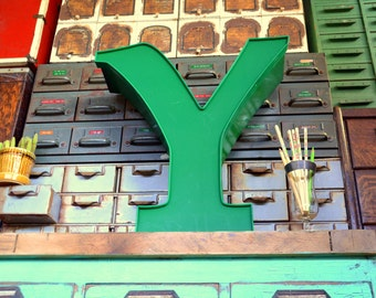 Vintage Marquee Sign Letter Capital 'Y': Large Pine Green Wall Hanging Initial -- Industrial Neon Channel Advertising Salvage