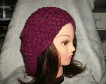Ladies  Berry Suede Slouchy Hat