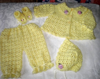 Sunshine 4 Piece Crocheted Sweater Set