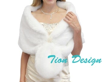 Bridal wrap, bridal shrug, White Faux fur wrap bridal stole, faux fur shrug, faux fur stole, faux fur shawl
