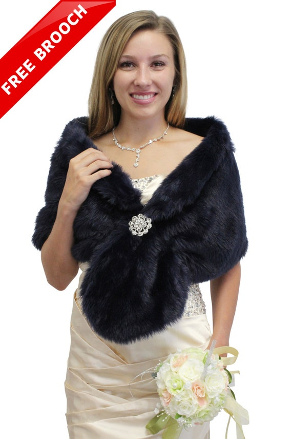 Bridal wrap bridal shrug navy blue faux fur stole by tiondesign - Polsterstoffe fur stuhle ...