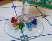 Glass Flower Rainbow Wine Charms
