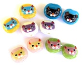 5 pairs cat face two tone beads, lampwork glass multicolor cat beads, qty 10, animal beads