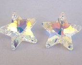 2 rare AB Star Swarovski crystal 20mm, out of production pendants, sun catcher