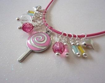Girl Necklace, Little Girl Jewelry, Lollipop, Glow in the Dark, Pink