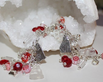 Cat Charm Bracelet, Glow in the Dark, Hearts, Year Round Wear, Red and White