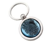Memorial keychain - silver and dichroic glass custom finger print keychain, memorial keychain, dad keychain, personalized keychain