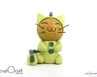 Dragon Pajama Cat - Clay Cat Figurine with Green Dragon Costume