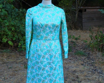 1960s Turquoise Flowers Brocade Long Sleeve Dress // Small