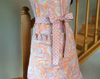 Full Apron - Women's Apron - Floral Apron - Ruffled Apron-Lined Apron--Apricot and Lavender