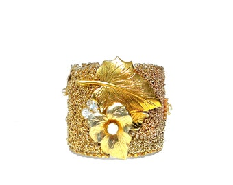 Vintage Wedding Cuff Bracelet, Bridal Jewelry, Bridesmaid Jewelry by Dabchick Vintage Gems