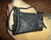 Hand Laced Black Deerskin fully lined in Red Leather Small Rockin' Bag