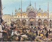 Vintage Postcard, San Marco Square, Venice Italy, Color Postcard, Travel Postcard, Vacation Postcard, Found Postcard, Travel Ephemera