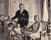 Vintage Postcard, Princess Grace, Prince Rainier and Family Postcard, Grace Kelly, Black & White Postcard, Photo Postcard, Monaco   IMG_0006