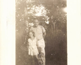 Vintage Photo, Father and Daughter in the Woods, Black & White Photo, Antique Photo, Old Photo, Vernacular Photo, Found Photo  AUGUSTINE1331