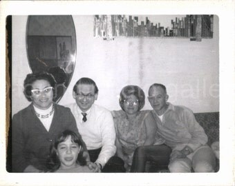 Vintage Photo, Family Gathering, Old Photo, Black & White Photo, Found Photo, Snapshot, 1960's fashion, Vernacular Photo