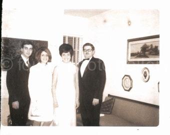 Vintage Photo, Two Dressy Couples, Evening Wear, Big Hair, Black & White Photo, Snapshot, Found Photo, Family Photo, Old Photo
