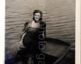 Vintage Photo, Woman in Rowboat, Lake, Black & White Photo, Romantic Photo, Snapshot, Vernacular Photo, Found Photo, Classic