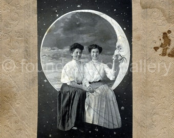 Digital Download, Two Women Sitting on Crescent Moon, Night Sky, Vintage Photo, Black & White Photo, Printable, Old Photo    133215-Ph-1-006