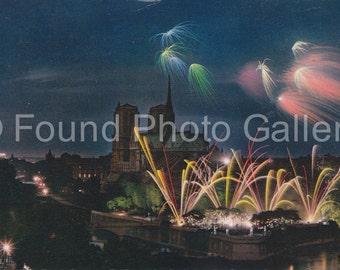 Vintage Postcard, Notre Dame Cathedral at Night, Color Postcard, Travel Postcard,  Found Postcard, Paris France,  Fireworks, Travel Ephemera