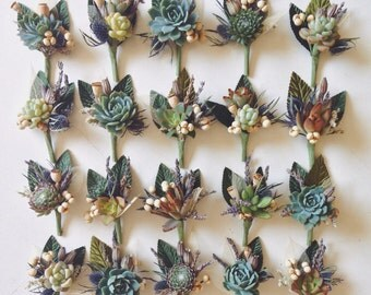 4 Assorted Succulent Boutonnieres