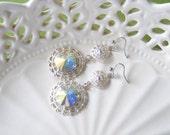 Silver bridal earrings, vintage wedding jewelry, crystal drop earrings, rivoli earrings, rhinestone wedding earings, bridal jewlery. SOPHIA