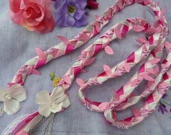 Handfasting cord- hot pink - lace and ribbon - silver charms and flowers