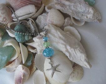 Beach Necklace - Starfish Glass Bead Pendant - Starfish Charm Necklace - Aqua Crystal Necklace - Beach Lovers Jewelry - Seashore