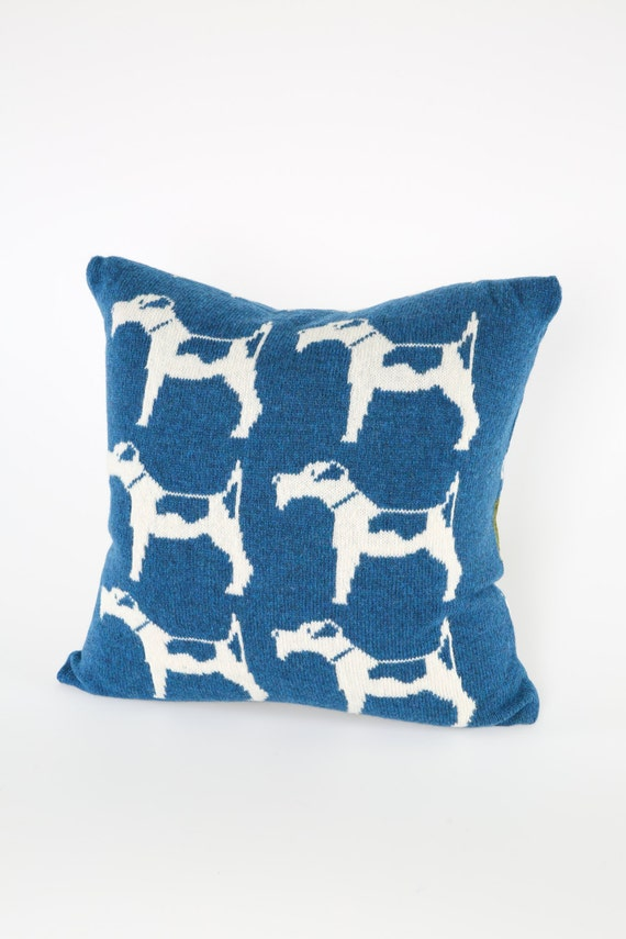 Knitted Lambswool Cushion Terrier Cushion -Dog Pillow -Lambswool Cushion -Blue & White Cushion - 50 x 50 cm Pillow - Knitted Scatter Cushion